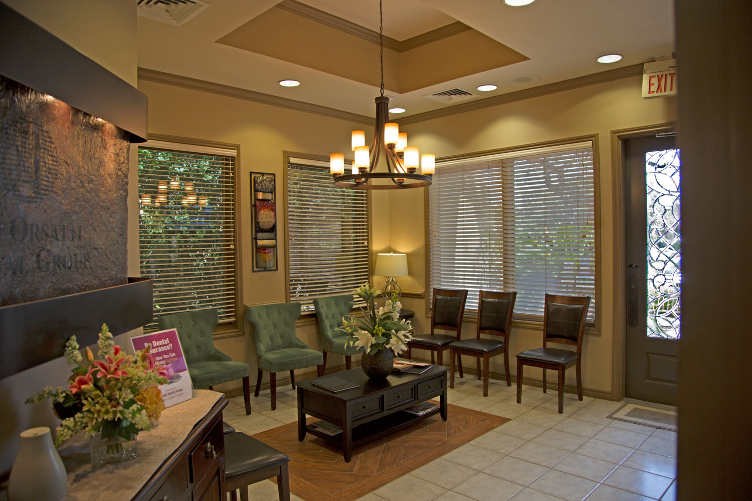 Comfortable Leather Chairs A Beverage And Snack Station Wide Screen TV Help Pass The Time Just Be Prepared To Not Wait Long Our Front Office Staff